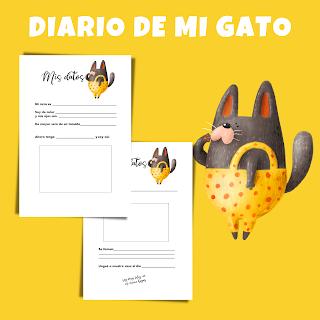 diario, gato, gatos, imprimibles, mascotas, pdf, historia