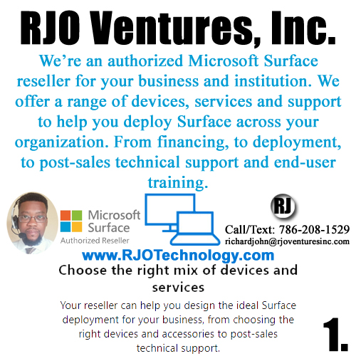 Microsoft Surface Authorized Reseller and Microsoft Cloud Managed Services Combo by RJO Ventures, Inc. [RJOVenturesInc.com]