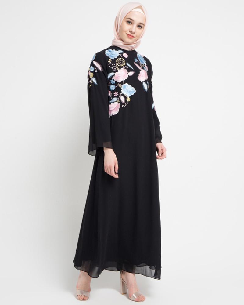 trend mdoel baju lebaran terbaru dan baik Gamis Motif dengan Bordir