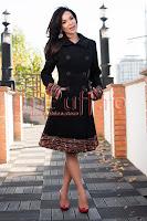 Palton matlasat negru din stofa