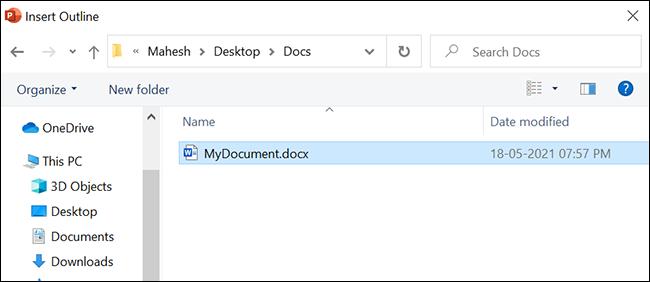 حدد مستند Word لتحويله إلى PowerPoint.