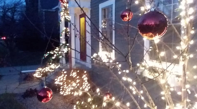 Christmas decorations on a Custom Sears colonial in Janesville Wisconsin