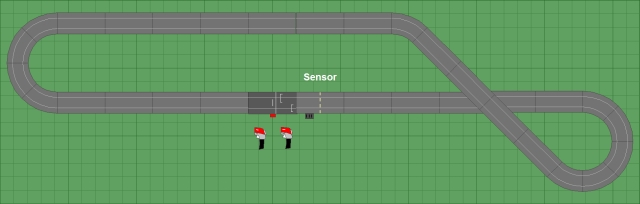 Posicionamento do sensor do tipo Tape Interrompido na pista