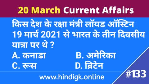 20 March  2021 Current Affairs In Hindi