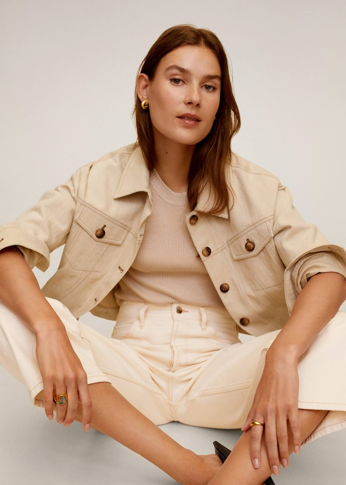 Mango Sale — Neutral Denim Jacket, Ribbed Top and High-Waisted Beige Jeans