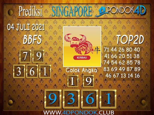 Prediksi Togel SINGAPORE PONDOK4D 04 JULI 2021