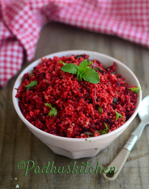 Beetroot Couscous-Indian Style Easy Couscous Recipe