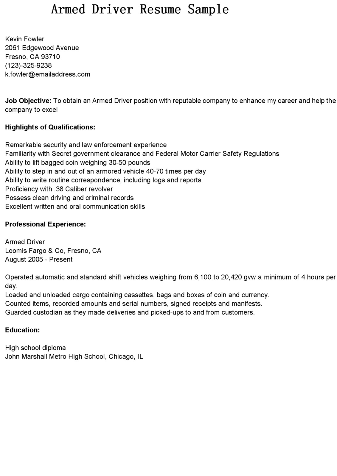 Cdl Resume Objective Examples Driver Resumes Armed Driver Resume Sample