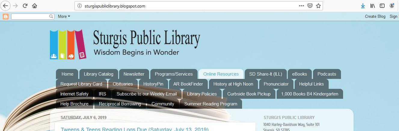 Sturgis Public Library: Online Resources Unavailable (July 12 -15, 2019)
