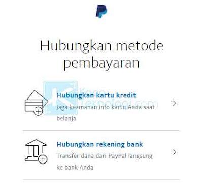 """Anda akan diarahkan ke halaman di mana Anda bisa melihat metode pembayaran yang tersedia di akun Anda. Jika Anda ingin menambah bank baru silakan klik """"Hubungkan rekening bank"""" dan jika Anda ingin menambahkan kartu kredit silakan klik """"Hubungkan kartu kredit""""."""