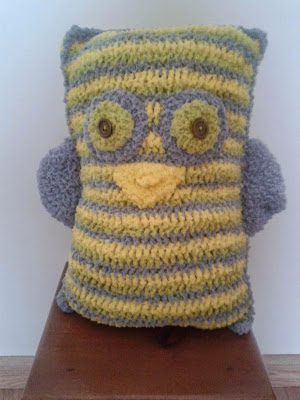 crochet owl pillow