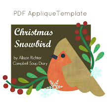 Christmas Snowbird Applique Template