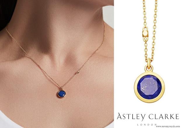 Kate Middleton Astley Clarke Round Stilla Lapis Lazuli Pendant Necklace