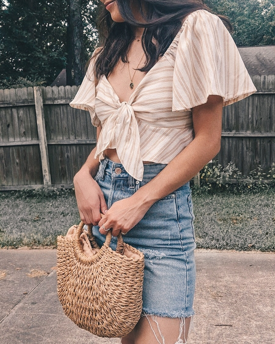 off the shoulder tie front top outfit, cute summer outfits, denim skirt summer outfits