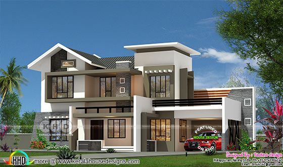 Modern mix roof 4 BHK 2350 sq-ft Kerala home design