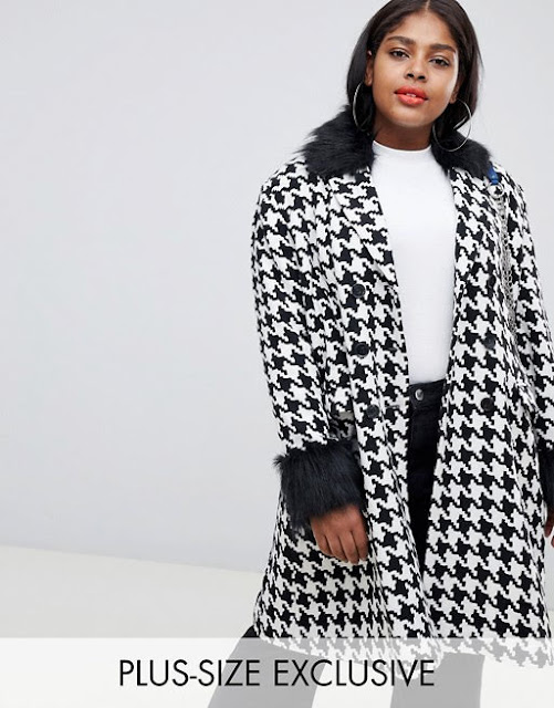 UNIQUE21 Hero Plus oversized car coat in dogtooth with faux fur collar and cuffs €30.99