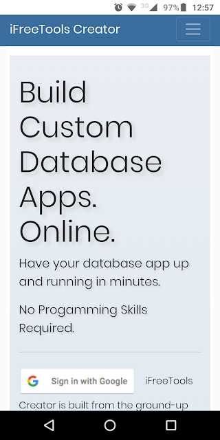 Free Online Database App - Home page on android mobile