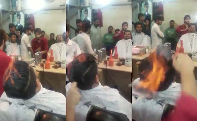 pakistani, pakistani barber, barber, fire, hair style, haircut, straighten, straight, hair, hairstylist, salon, ablaze, blaze, ghost rider, flame, combs, burning, burnt,