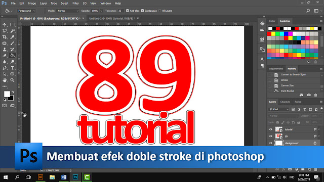 Cara membuat tulisan dobel garis pinggir di photoshop + video