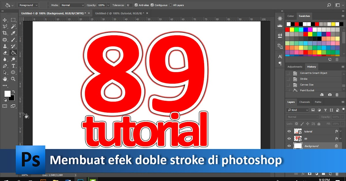 Cara Membuat Tulisan Dobel Garis Pinggir Di Photoshop Video Tutorial89