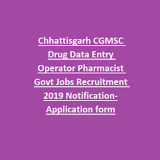 Chhattisgarh CGMSC Drug Data Entry Operator Pharmacist Govt Jobs Recruitment 2019 Notification-Application form