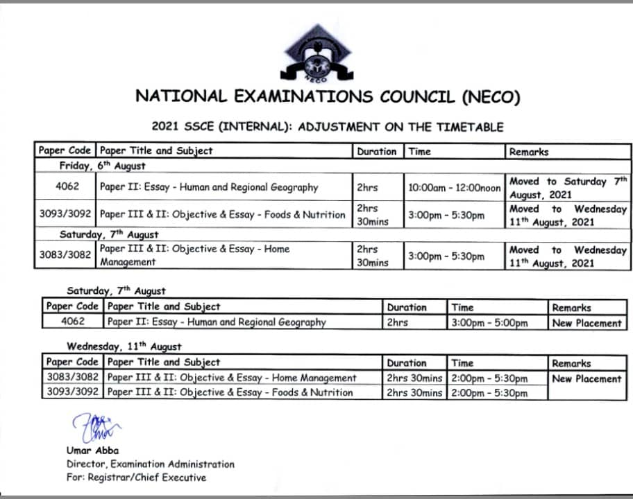 2021 NECO SSCE (Internal) Timetable [5th July - 16th August]