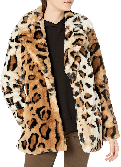 Leopard Pattern Faux Fur Coats Jackets for Women