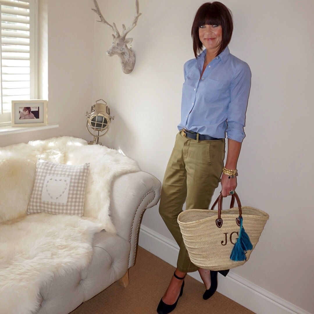 my midlife fashion, j crew perfect chambray cotton shirt, gucci double gg 2cm leather belt, j crew cropped kick flare chinos, initially london covent garden medium shopper basket, gap block heel ankle strap shoes