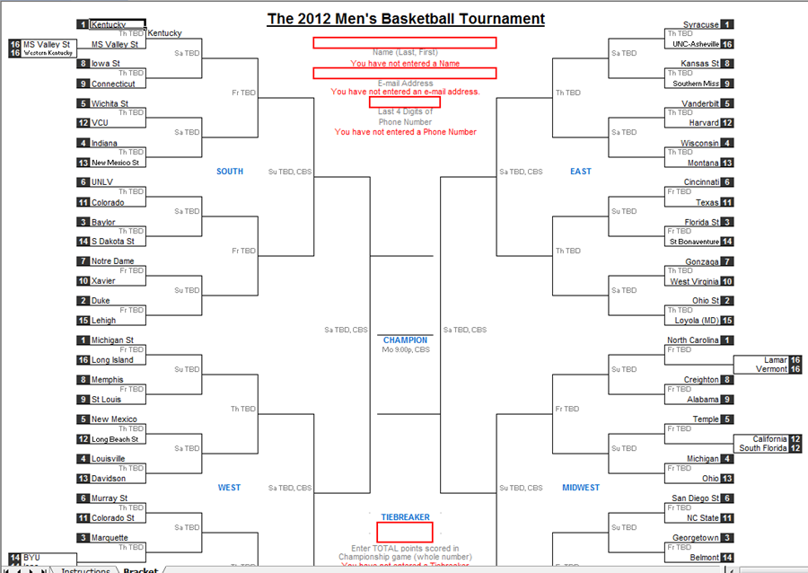Excel Spreadsheets Help: Downloadable 2012 NCAA Tournament