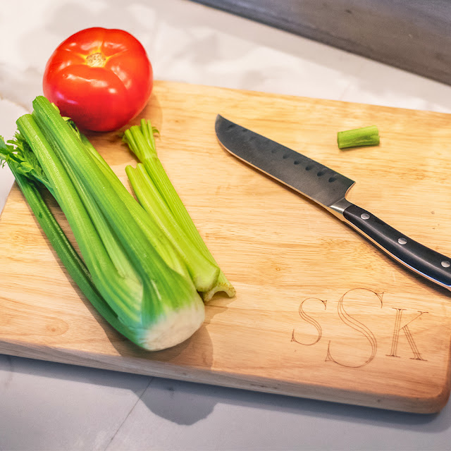 personalized cutting board with knife and celery