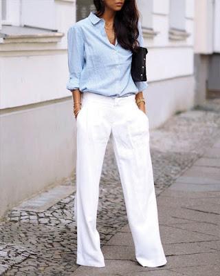 pantalón palazzo blanco elegante