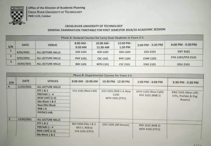 CRUTECH Exam Timetable for 1st Semester 2019/2020 [PHOTOS]