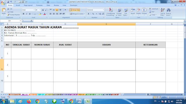 Download Contoh Agenda Surat Masuk Paud TK KB RA