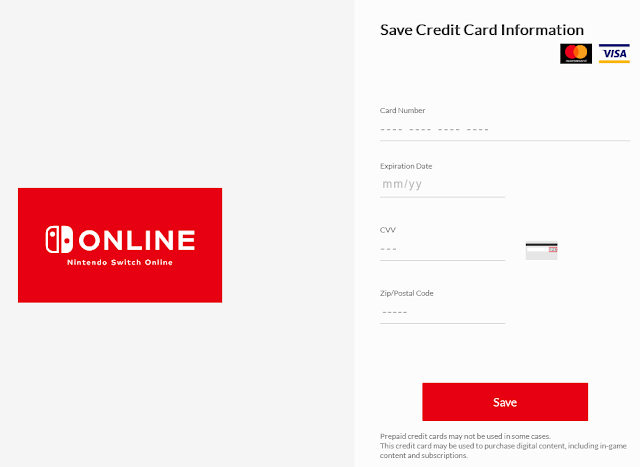 Nintendo Account Switch Online save credit card information mastercard visa