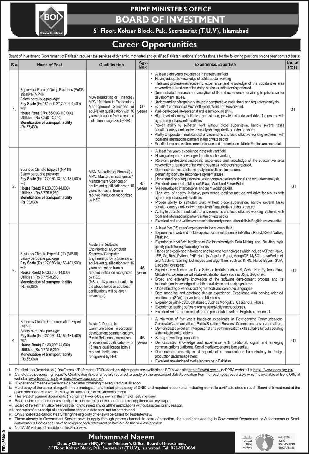 Board of Investment Jobs 2020 Prime Minister Office Islamabad Latest