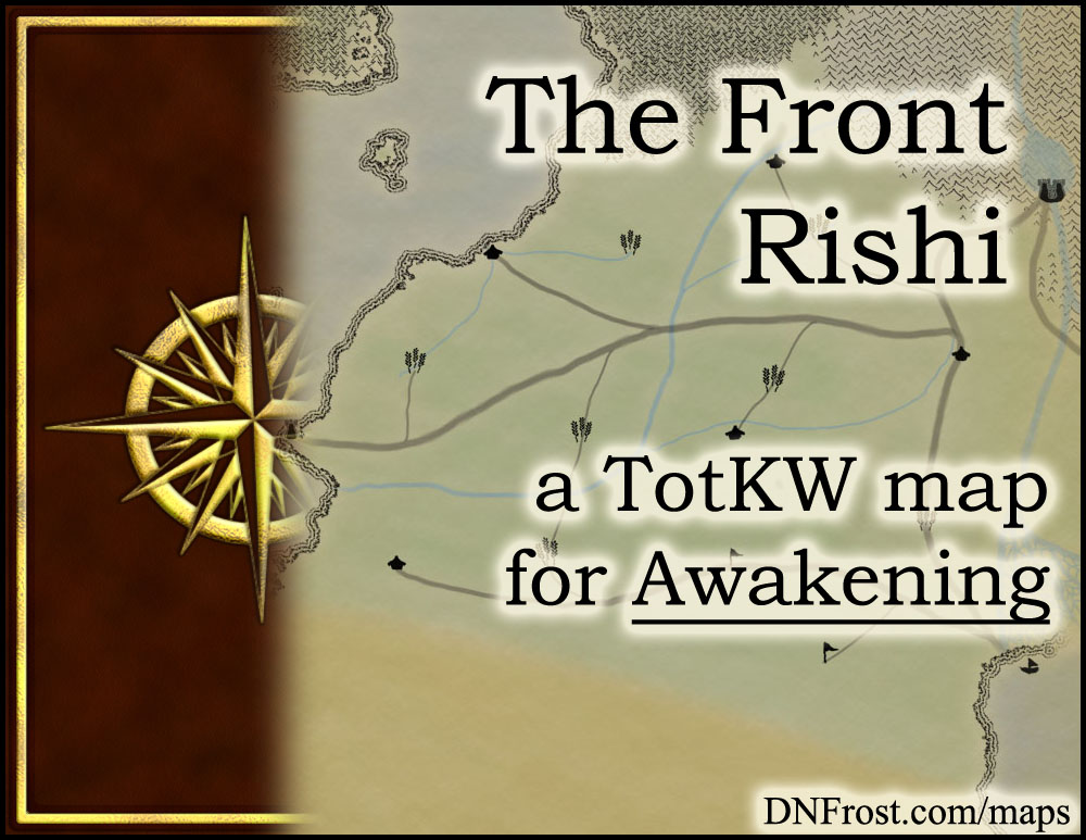 The Front Rishi: windswept plains of the gryphon riders www.DNFrost.com/maps #TotKW A map for Awakening by D.N.Frost @DNFrost13 Part 13 of a series.
