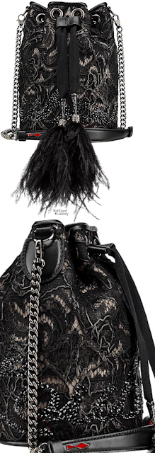 Brilliant Luxury♦Christian Louboutin Marie Jane Lace Embroidered Bucket Bag #black