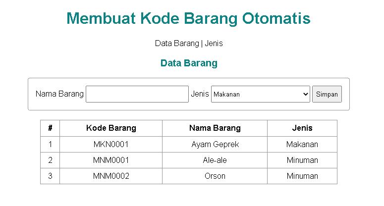 Belajar PHP - Output halaman data barang