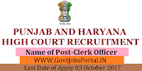 High Court of Punjab & Haryana at Chandigarh Recruitment 2017– 350 Clerk