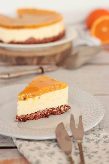 Cheesecake de Naranja con un Toque de Maracuyá, Saludable, Sin Azúcar y Sin Horno de www.recomiendoblog.com