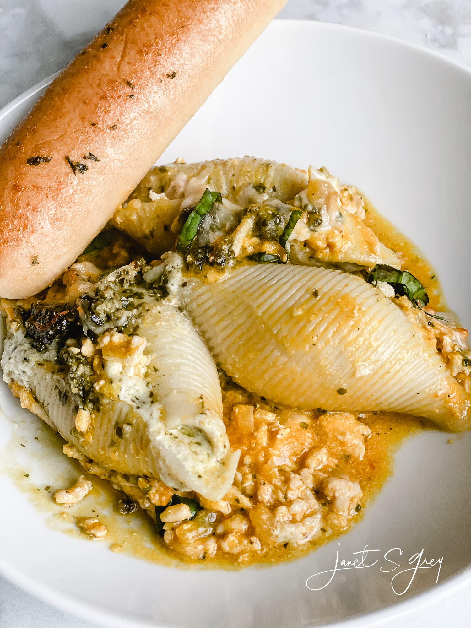 Ricotta and Pesto Stuffed Shells with Kabocha Squash Ground Chicken Sauce