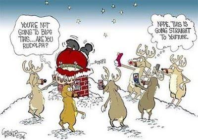 Santa Claus  is stuck reindeer christmas santa