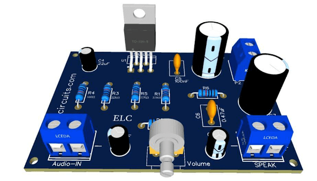 Amplificador de Áudio HI-FI 32W - TDA2050 - Fonte Simples + PCI