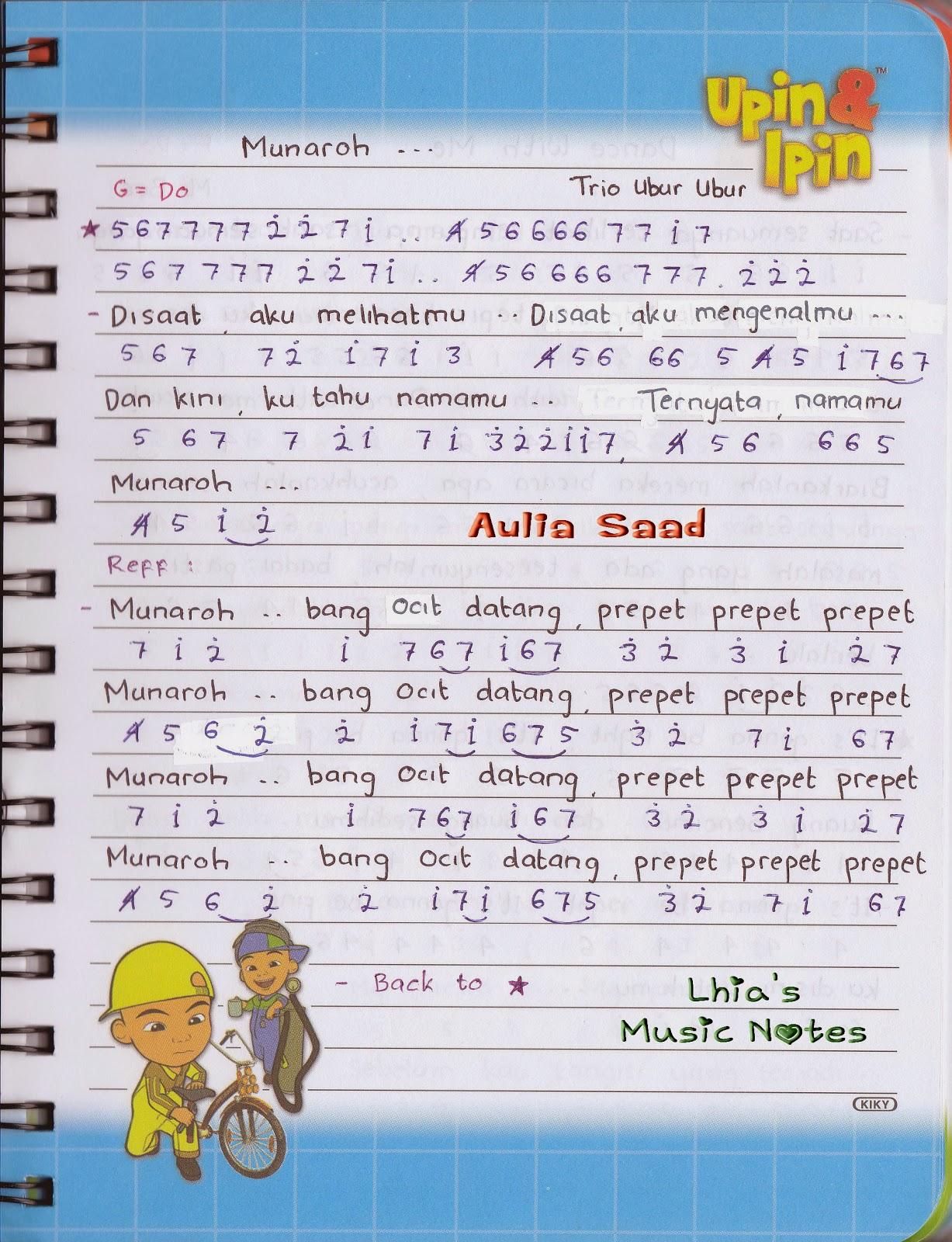 Not Angka Trio Ubur Ubur Munaroh Lhia S Music Notes