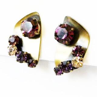 Vintage clip on earrings with rhinestone