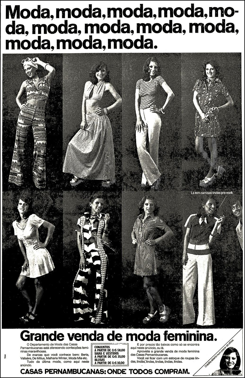 Propaganda antiga das Casas Pernambucanas com oferta de moda feminina em 1974