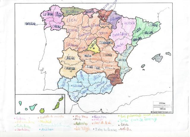 Mapa De España Con Sus Provincias.El Mapa De Espana Con Sus Correspondientes Provincias