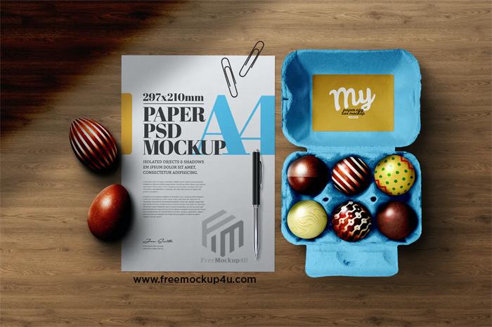 Easter Eggs Mockup Chocolate Paper Box Carton A4