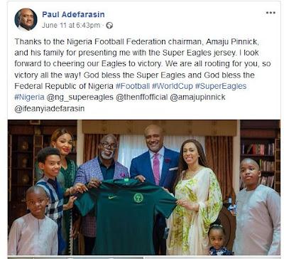 #Russia2018: Nigeria Football Federation chairman, Amaju Pinnick gift Pastor Paul Adefarasin Spuer Eagle's jersey