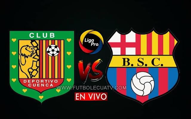 Deportivo Cuenca recibe a Barcelona SC en vivo por la fecha seis del campeonato ecuatoriano, a partir de las 17h00 hora local, siendo transmitido por canal GolTV Ecuador a jugarse en el estadio Alejandro Serrano Aguilar con arbitraje principal de Marlon Vera.